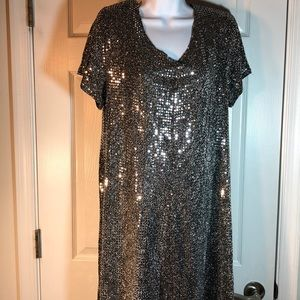 KC Spencer Silver Sequined Dress Size 14